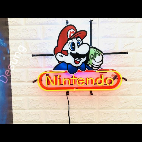 Desung Nintendo (Business - Arcade) vivid neon sign, front view, turned on