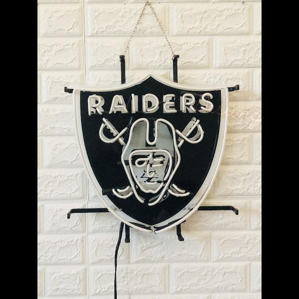 Desung Oakland Raiders (Sports - Football) vivid neon sign, front view, turned off