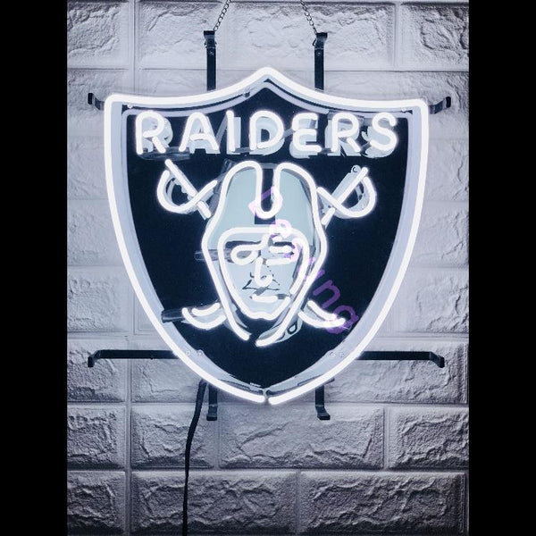 Desung Oakland Raiders (Sports - Football) vivid neon sign, front view, turned on
