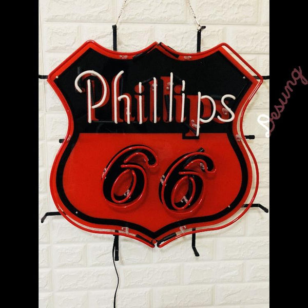 Desung Phillips 66 (Business - Gas Station) vivid neon sign, front view, turned off