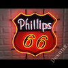 Desung Phillips 66 (Business - Gas Station) vivid neon sign, front view, turned on