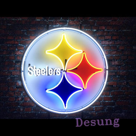 Desung Pittsburgh Steelers (Sports - Football) vivid neon sign, front view, turned on