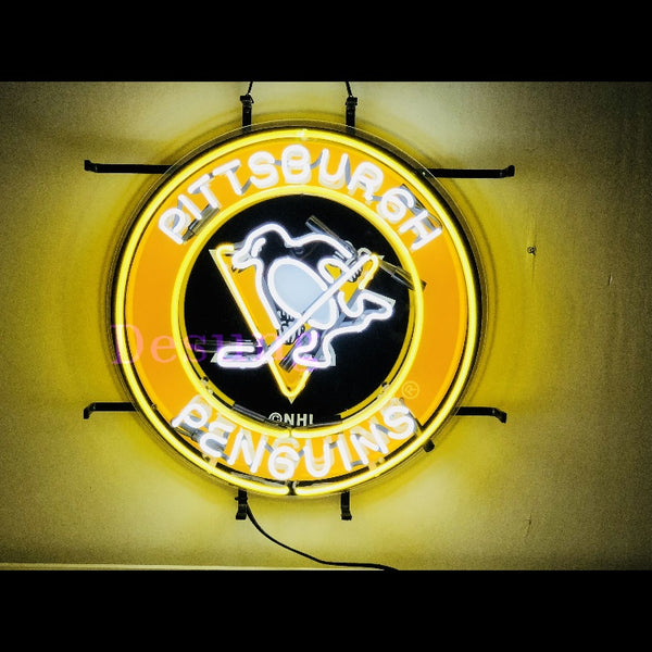 Desung Pittsburgh Penguin (Sports - Hokey) vivid neon sign, front view, turned on
