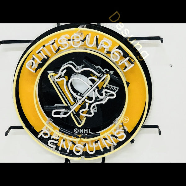 Desung Pittsburgh Penguin (Sports - Hokey) vivid neon sign, front view, turned off