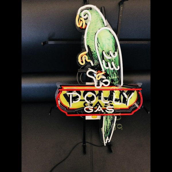 Desung Polly Gasoline Motor Oil (Business - Gas Station) vivid neon sign, front view, turned off