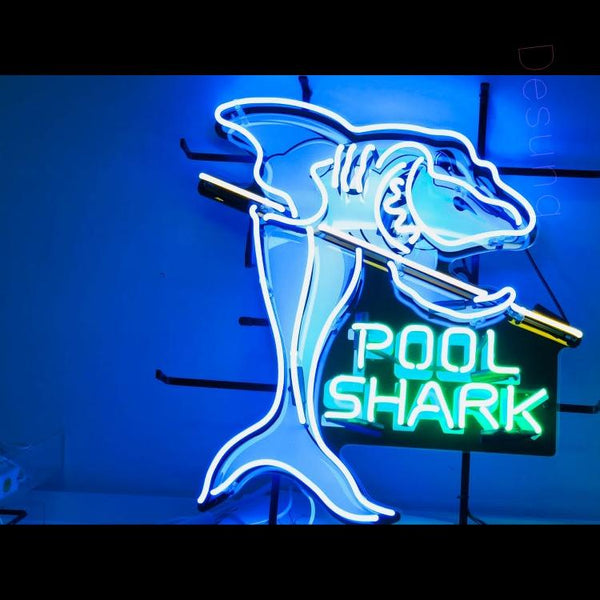 Desung Pool Shark (Business - Game) vivid neon sign, front view, turned on