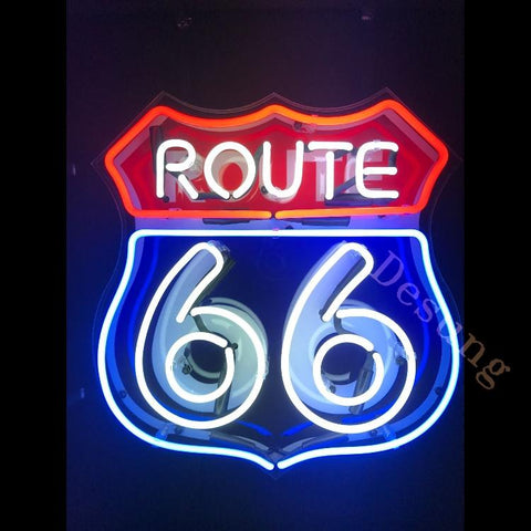 Desung Route 66 (Business - Road) vivid neon sign, front view, turned on