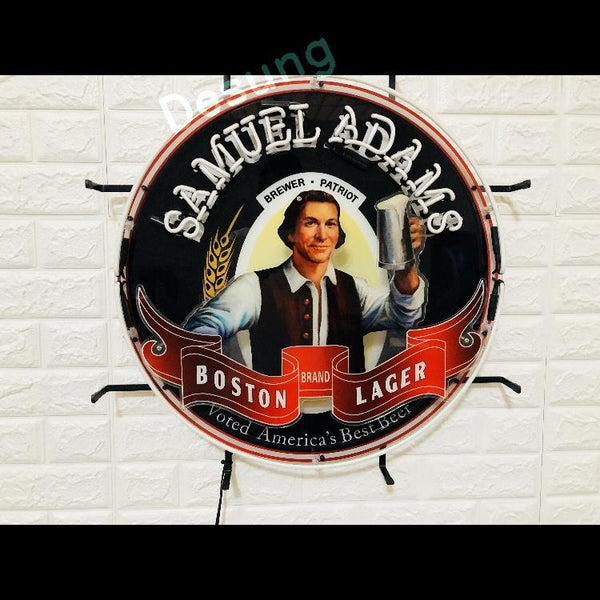 Desung Samuel Adams Boston Lager (Alcohol - Beer) vivid neon sign, front view, turned off