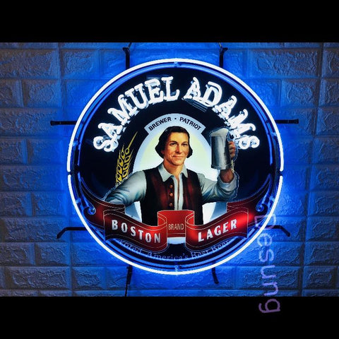 Desung Samuel Adams Boston Lager (Alcohol - Beer) vivid neon sign, front view, turned on