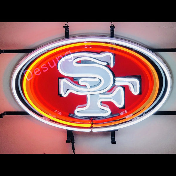 Desung San Francisco 49ers (Sports - Football) vivid neon sign, front view, turned on