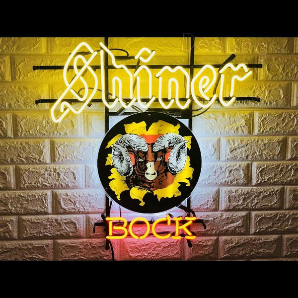 Desung Shiner Bock (Alcohol - Beer) vivid neon sign, front view, turned on