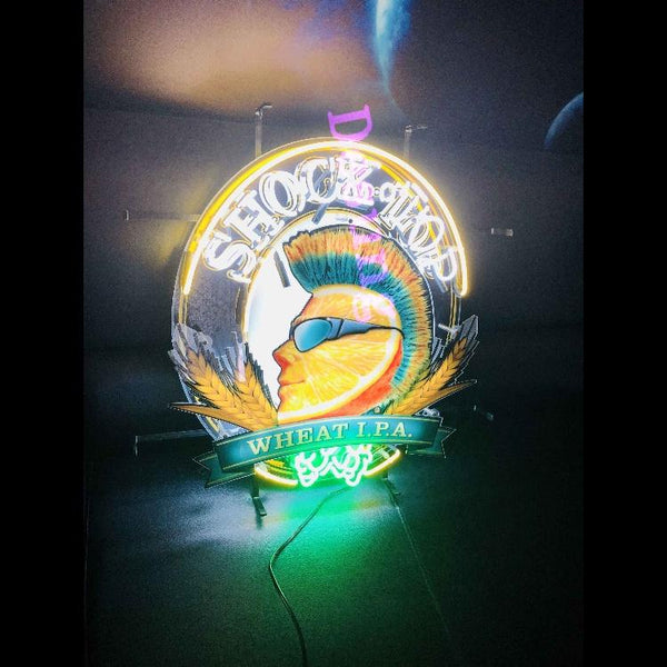 Desung Shock Top Wheat IPA (Alcohol - Beer) vivid neon sign, front view, turned on