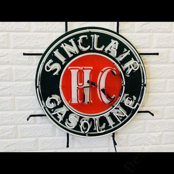 Desung Sinclair Gasoline HC (Business - Gas Station) vivid neon sign, front view, turned off