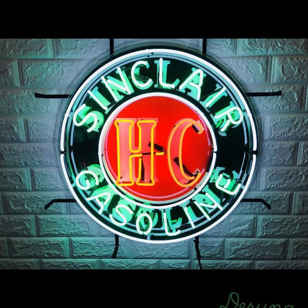 Desung Sinclair Gasoline HC (Business - Gas Station) vivid neon sign, front view, turned on
