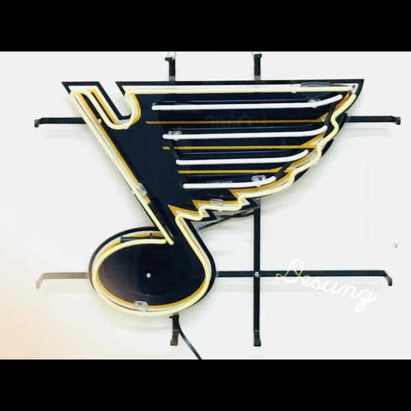 Desung  St. Louis Blues (Sports - Hockey) vivid neon sign, front view, turned off