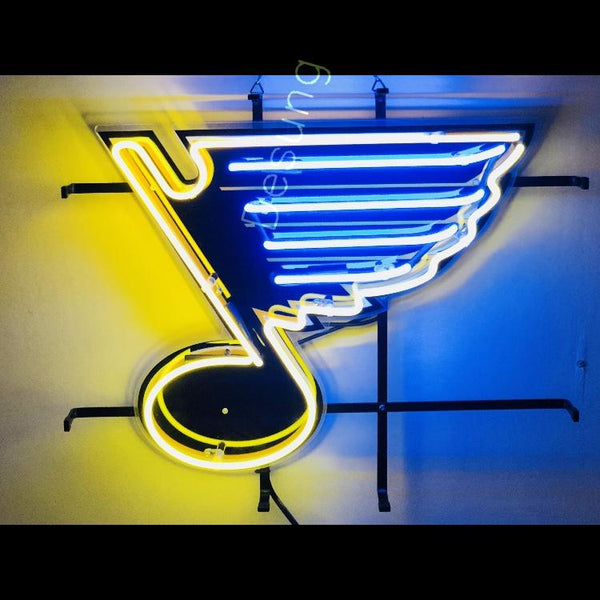 Desung  St. Louis Blues (Sports - Hockey) vivid neon sign, front view, turned on