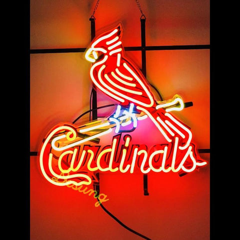Desung St. Louis Cardinals (Sports - Baseball) vivid neon sign, front view, turned on