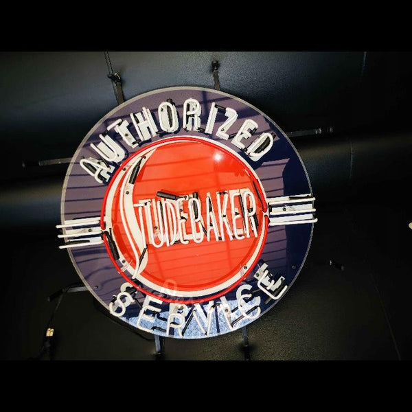 Desung Studebaker Authorized Service (Auto) vivid neon sign, front view, turned off