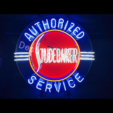 Desung Studebaker Authorized Service (Auto) vivid neon sign, front view, turned on