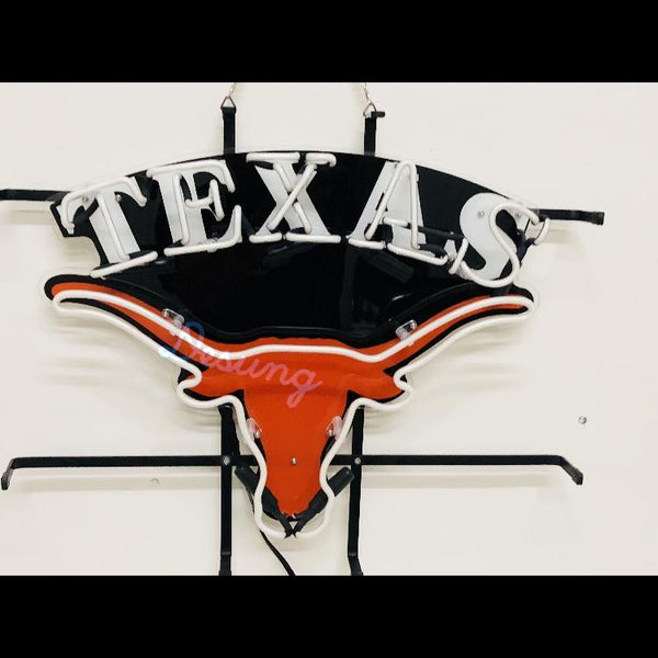 Desung Texas Longhorns (Sports - Football) vivid neon sign, front view, turned off