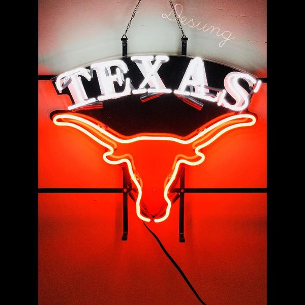 Desung Texas Longhorns (Sports - Football) vivid neon sign, front view, turned on
