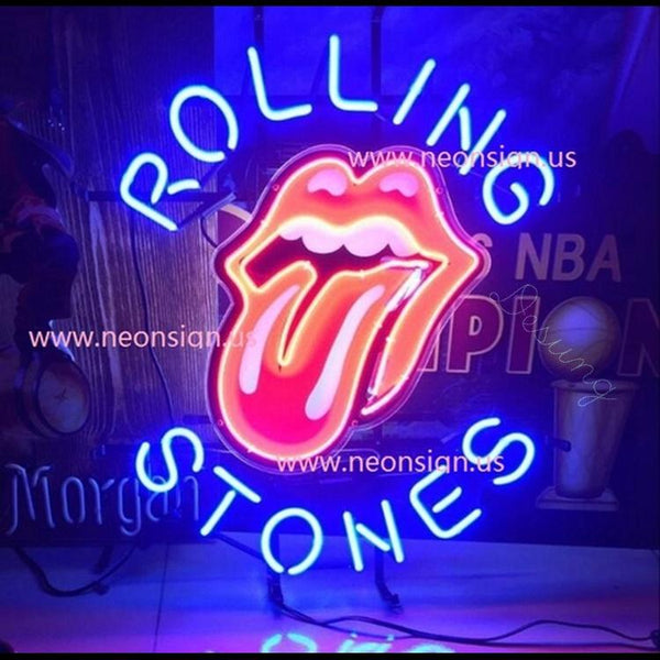 Desung The Rolling Stones Tongue and Lip Design logo band (Business - Bar) vivid neon sign