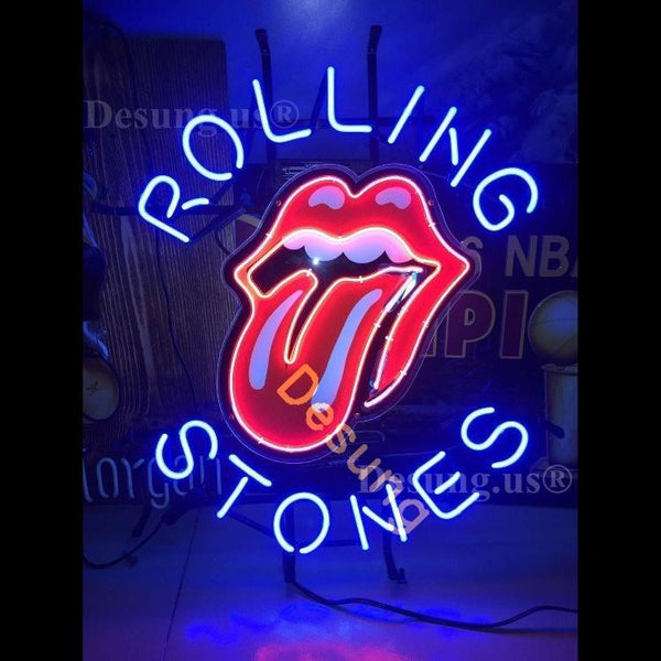 Desung The Rolling Stones Tongue and Lip Design logo (Business - Bar) band vivid neon sign