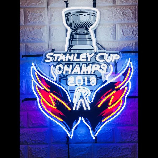 Desung Washington Capitals 2018 Stanley Cup Champs (Sports - Hockey) vivid neon sign, front view, turned on