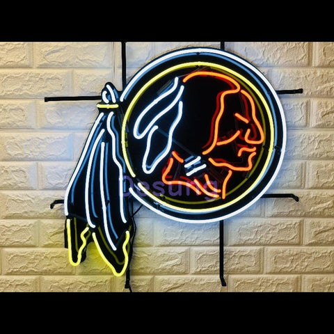 Desung Washington Redskins (Sports - Hockey) vivid neon sign, front view, turned on