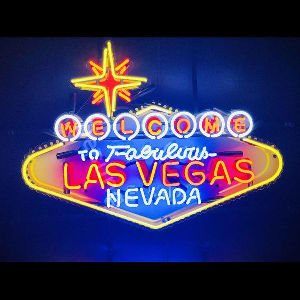Desung Welcome to Fabulous Las Vegas Nevada (Business - Las Vegas) vivid neon sign, front view, turned on