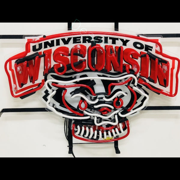 Desung Wisconsin Badgers (Sports - Football) vivid neon sign, front view, turned off