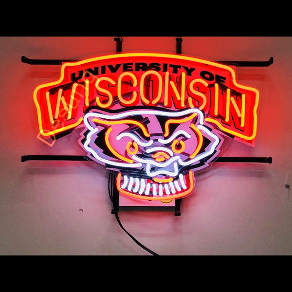 Desung Wisconsin Badgers (Sports - Football) vivid neon sign, front view, turned on