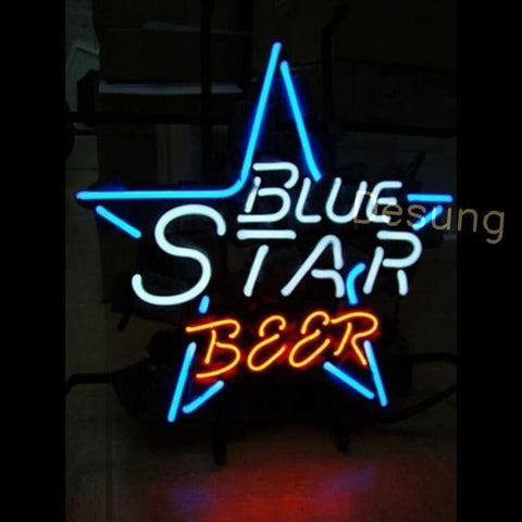 "Desung Blue Star Beer Neon Sign alcohol 124BR294BSB 1807 24"" beer bar"