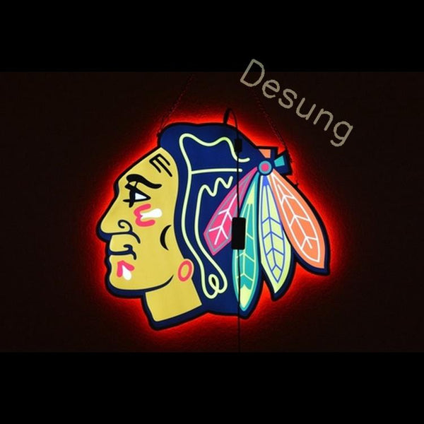 "Desung Chicago Blackhawks Double Sized light emitting LED sign sports 118LS436CBD 1949 18"" hockey"