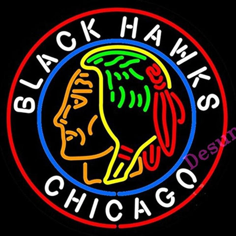 "Desung Chicago Blackhawks Neon Sign sports 124SP179CBH 1692 24"" hockey"