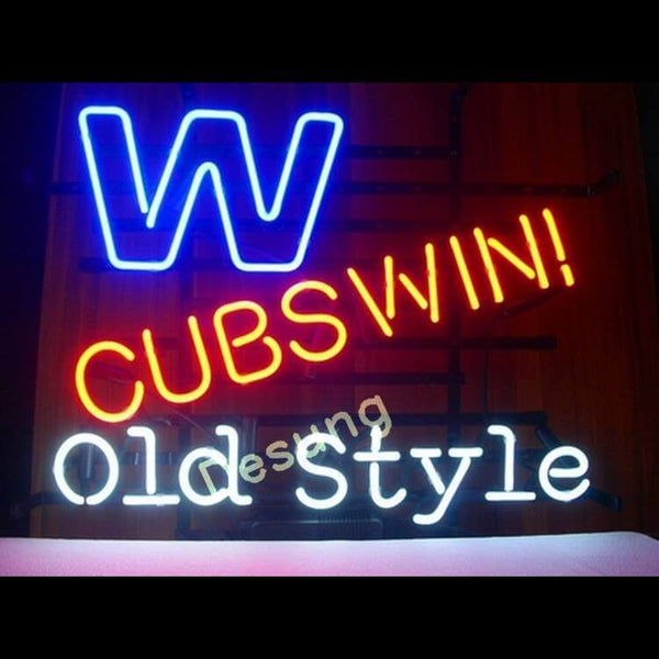 "Desung Chicago Cubs Win Old Style Logo Neon Sign sports 118SP362CCW 1875 18"" baseball"