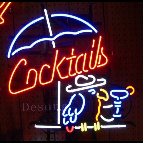 "Desung Cocktails Cocktail Parrot Neon Sign business 118BP061CCP 1574 18"" bar"