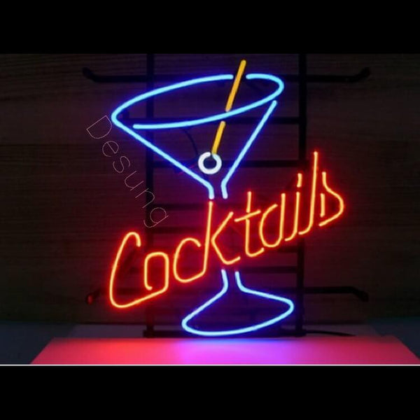 "Desung Cocktails Martini Neon Sign alcohol 117WS470CM  1983  17""  bar  cocktail"