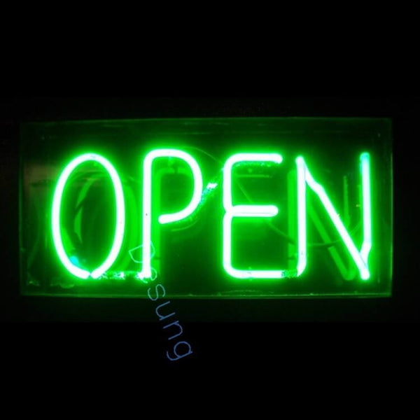 "Desung Green Open Neon Sign business 120OP404GON  1917  20""  open"