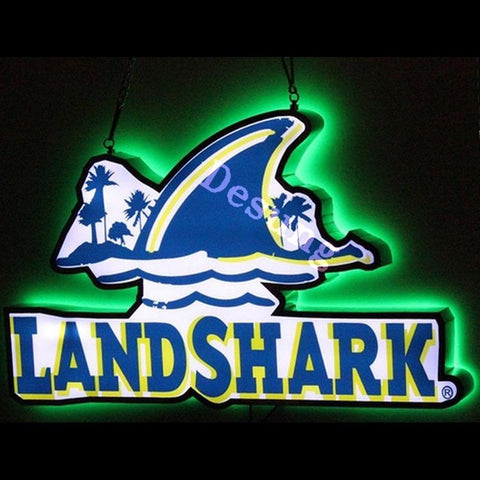 "Desung Landshark Lager DOUBLE SIZED light emitting LED sign alcohol 117LS435LDS 1948 17"" beer bar"