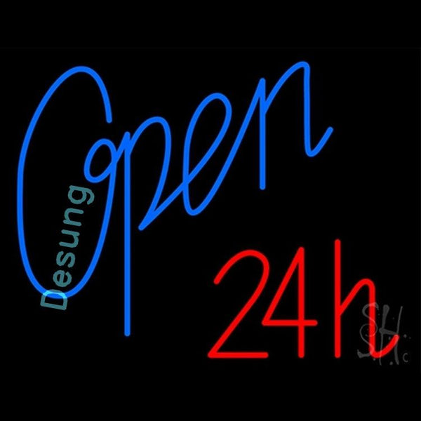 "Desung Open 24 Hours Blue Red Neon Sign business 120OP406OHB 1919 20"" open"