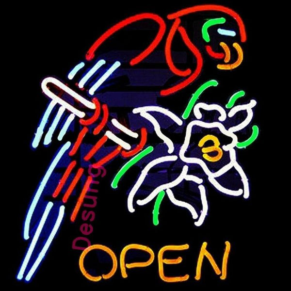 "Desung Open Parrot & Flower Neon Sign business 124OP348OPF 1861 24"" open"