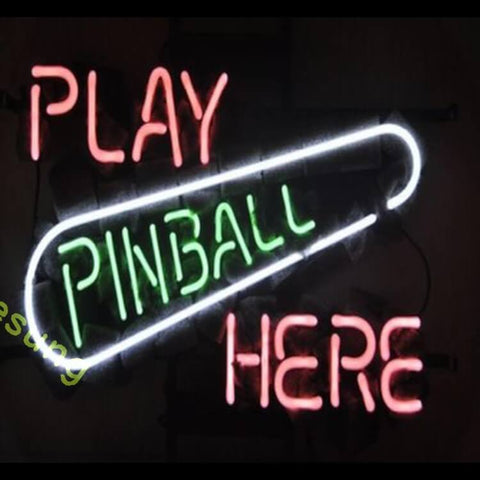 "Desung Play Pinball Here Neon Sign business 117MC549PPH 2062 17"" arcade"