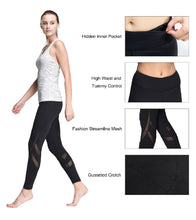 LOVESOFT Women's Quick-Dry Mesh Workout High Waist Yoga Pants with Inner Pocket
