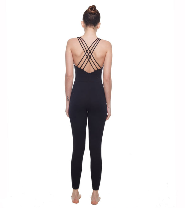 LOVESOFT Women's Sleeveless Backless Yoga Jumpsuit Solid Color Bodysuit