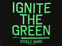 Steele Wars - Ignite The Green - Black T-shirt