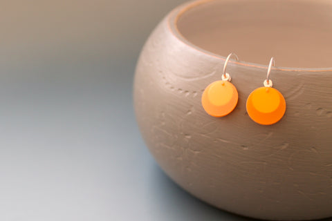 light bright orange earrings in sterling silver