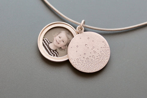 modern Photo locket handmade locket in sterling silver bubbles