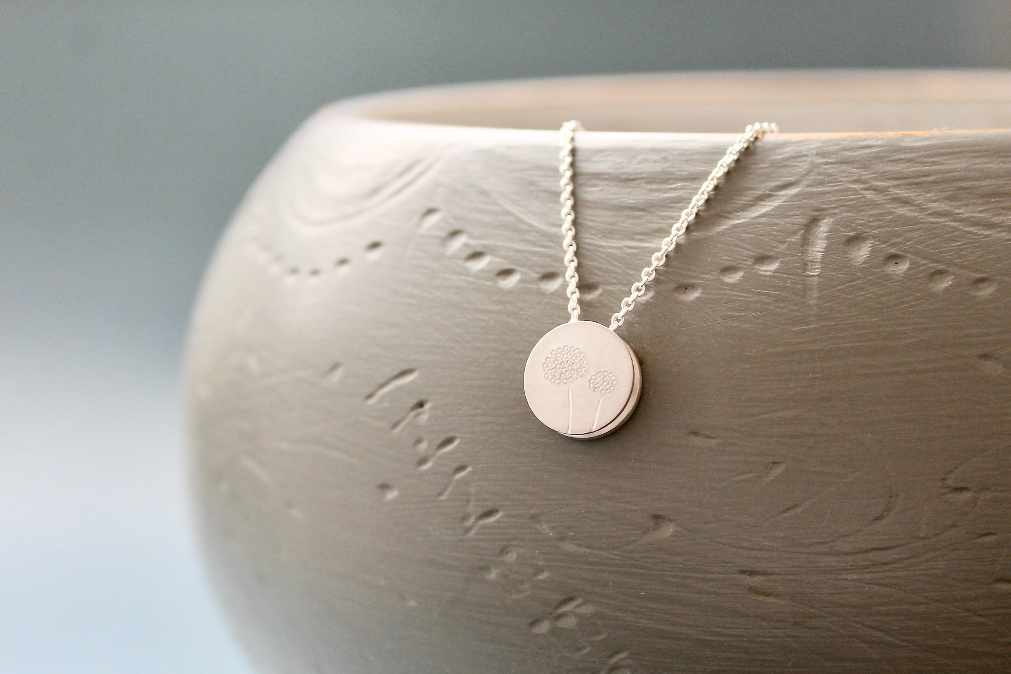 reversible dandelion pendant necklace in sterling silver