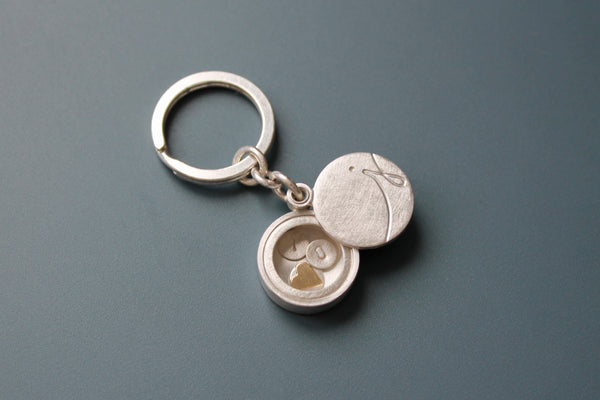 custom sterling silver keychain with initial